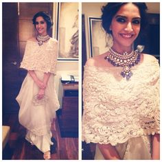 Sonam Kapoor Wearing Anamika Khanna Haute Couture, necklace by Sunita Kapoor signature line and clutch. Mode Bollywood, Bollywood Fashion, Bollywood Saree, Sonam Kapoor, Sunita Kapoor, Indian Attire, Indian Wear, Indian Dresses, Indian Outfits