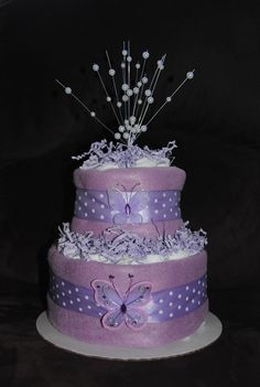 Lavender Butterfly Diaper Cake by ericajmoore on Etsy Baby Shower Parties, Baby Shower Gifts, Baby Gifts, Baby Showers, Butterfly Diaper Cake, Butterfly Baby, 16 Birthday Cake, Sweet 16 Birthday, Baby Shower Centerpieces
