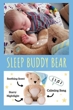 "Little Cubs will dream easy with the Sleep Buddy Bear nearby. A nightlight of moon and stars appears on Bear's belly to offer a reassuring glow, and a soothing classic ""Go To Sleep Little Baby"" lullaby welcomes sleep with a classic melody Cubs love. Unique Baby Gifts, New Baby Gifts, Vermont Teddy Bears, Baby Lullabies, Help Baby Sleep, Soft Blankets, Nursery Inspiration, First Baby, Baby Hacks"