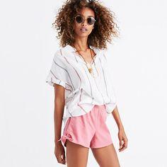 "Our favorite pull-on shorts return with cute side ties. Supercomfortable and cool, this pair swaps in effortlessly for a pair of cutoffs. <ul><li>True to size.</li><li>3 1/2"" inseam.</li><li>Cotton/viscose.</li><li>Machine wash.</li><li>Import.</li></ul>"