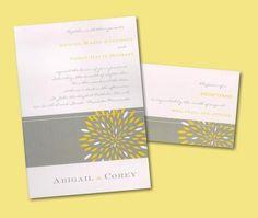 Yellow and grey #wedding invites