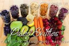 "Paleo ""Skittles"" - Taste the (Real Food) Rainbow - Joyful Abode. I don't necessarily care about the paleo aspect, just the healthy one :) Baby Food Recipes, Paleo Recipes, Whole Food Recipes, Snack Recipes, Cooking Recipes, Jar Recipes, Freezer Recipes, Freezer Cooking, Drink Recipes"