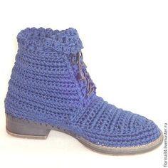 Обувь ручной работы. Сапожки вязаные со шнуровкой, синий,хлопок. Елена Гончарова Вязаная обувь. Ярмарка Мастеров.