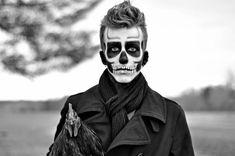 maquillage pour Halloween homme: crâne mexicain noir et blanc
