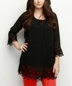 Black Lace-Trim Tunic - Plus #zulily #zulilyfinds