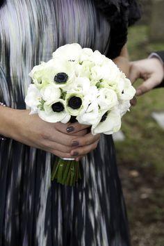White anemone and white ranunculus brides bouquet