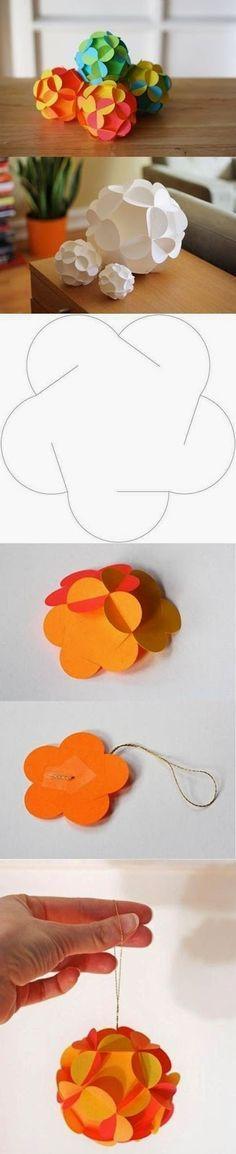 enfeite flor de papel pingente