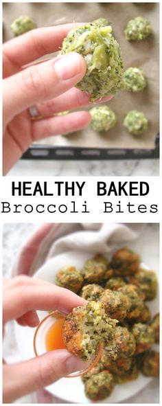 Substitute some ingredients and it's vegan!  ....These Healthy Baked Broccoli Bites are the perfect little appetizer or just a snack on the go, with some delicious sriracha. YUM!!