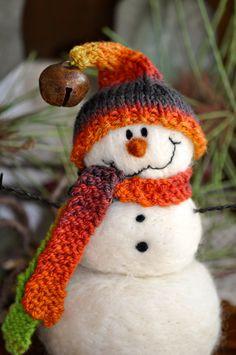 Needle Felted Christmas Snowmen