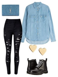 """Denim and black"" by sustinoco on Polyvore featuring 7 For All Mankind, Dr. Martens, Yves Saint Laurent and Lipsy"