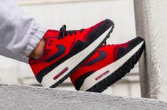 """The Nike Air Max 1 """"Red Crush"""" is coming soon. Need to add these to the rotation! For a closer on-foot look, tap the link in our bio. Best Sneakers, Custom Sneakers, Vans Sneakers, Air Max Sneakers, Nike Shoes, Air Max 1, Nike Air Max, Jordan Nike, Designer Sneakers Mens"""
