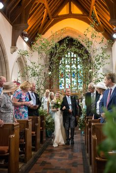 Trees Church Aisle Flowers Pew Ends Vintage Greenery Garden Marquee Wedding http://louiseadbyphoto.com/