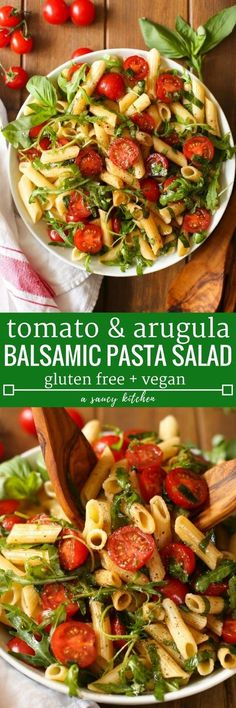 Simple balsamic pasta salad with fresh cherry tomatoes arugula and basil in an easy vinaigrette. Serve as a side dish or light meal!