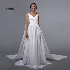 LORIE šifón Svatební šaty Špagety popruh Levné Appliques Čipka Sweep vlak  White Caped svatební šaty Beach svatební šaty 2018 9ae824013c