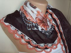 Brown Orange  White Gorgeous Turkish Traditional by colourfulrose, $22.75