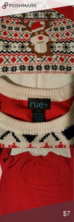 Plus size ugly Christmas sweater Plan ahead and get it now so you don't have to scramble next year. I got this at the end of the holiday season last year and wore it this year so it's only worn once. I'll be looking for mine for next year now! Rue 21 Sweaters