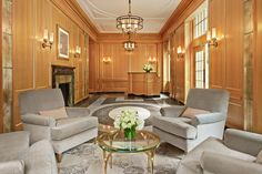 Custom sconces and chandeliers in the lobby of 18 Gramercy Park South  built by Flintlock Construction LLC.