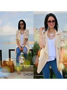 Beige Coat With Half Sleeves   Choies