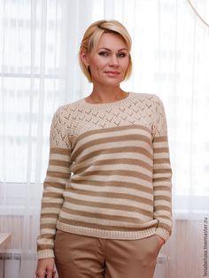 Кофты и свитера ручной работы. Ярмарка Мастеров - ручная работа. Купить Пуловер в полоску.. Handmade. Бежевый, пуловер женский