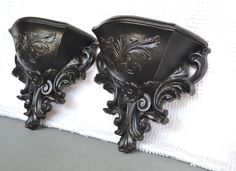 Black Ornate Wall Pockets set of 2- Upcycled Traditional or Mid Century Modern Wall Decor. $20.00, via Etsy.