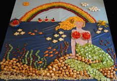 Mermaid scene made from food
