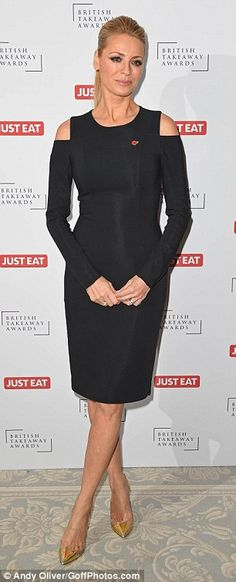Tess Daly is joined by husband Vernon Kay at the British Takeaway Awards 2015 Vernon, Lbd, Mail Online, Daily Mail, Peplum Dress, Awards, British, Husband, Glamour