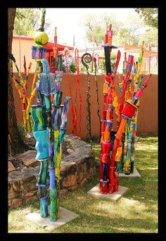 pixels - All About Garden Yard Ideas, Garden Crafts, Garden Projects, Art Projects, Yard Art Crafts, Recycled Garden Art, Garden Poles, Pole Art, Stick Art