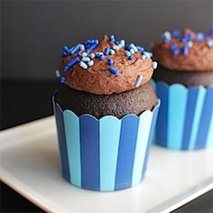 The tangy flavor of sour cream balances the deep flavor of cocoa in these cupcakes and the light, fluffy chocolate ganache intensifies the chocolate experience! Find the recipe here: http://theculinarychronicles.com/2013/06/21/chocolate-sour-cream-cupcakes-with-whipped-ganache/