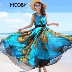 86438b06d7a 2016 New Women Peacock Summer Dress Plus Size Vintage Autumn Long Maxi  Dresses Bohemian Floor Length Dress Vestidos De Fiesta - FASHION BookFace -  Leading ...