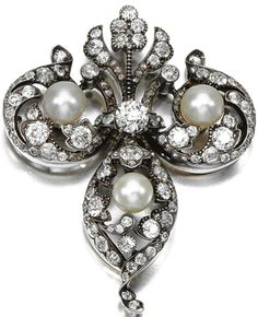 DIAMOND BROOCH/PENDANT, LATE 19TH CENTURY Of trefoil design accented with three pearls within scrolling surrounds set with circular- and rose-cut diamonds, brooch fitting detachable, two small diamonds deficient, fitted case by GARRARD & Co LTD, 112. REGENT STREET.W.1. #EdwardianJewels #ShaunaGiesbrecht #VonGiesbrechtJewels