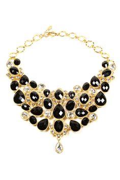 Amrita Singh Crystal South Fork Bib Fall Necklace in Jet Black - Beyond the Rack