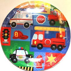 Rescue-Vehicles-Cars-8-Small-DESSERT-PLATES-Birthday-Baby-Party-Supplies