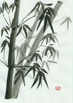 Ink wash painting of bamboo