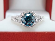 1.36 Carat SI1 950 Platinum CERTIFIED Blue & White Diamonds Engagement Ring
