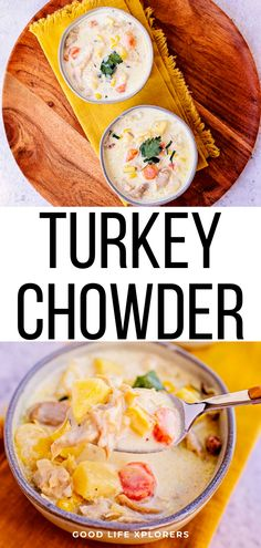 This creamy turkey chowder with corn and bacon is the best turkey recipe for turning those leftovers into a delicious creamy soup! Corn Recipes, Lunch Recipes, Crockpot Recipes, Dinner Recipes, Cooking Recipes, Yummy Recipes, Dinner Ideas, Recipies, Best Turkey Recipe