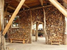 stacked firewood wall