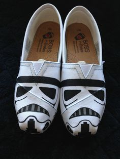 Storm Trooper Star Wars Shoes...I would wear them for my hubby!