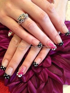 Polka dot nail art with 3d acrylic bows