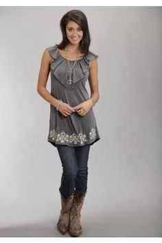 Women's Grey 7843 Rayon Spandex Knit Slvls Dress Stetson Ladies Western Clothing