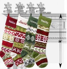 Personalized Knitted Christmas Stockings Green White by eugenie2, $36.95