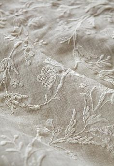 Beautiful Embroidered Linen Fabric ~