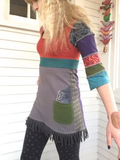 CUSTOM Made for Donna, Eco Tunic shirt, FULL payment, Upcycled clothing,  you choose colors & design, by Zasra