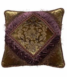 25% OFF July 8-12, 2016 Christmas in July! Accent Pillow Green And Purple Textured Velvet Corded Square 20x20