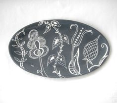 Serving Platter Charcoal Grey ready to ship by CeramicaBotanica, $85.00