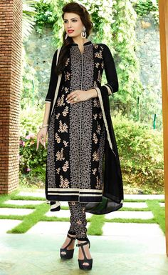 USD 32.99 Black Cotton Churidar Suit 49624