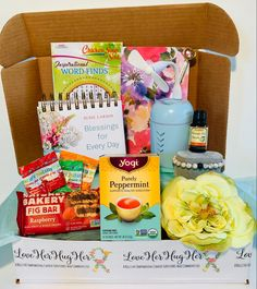 Loveherhugher Custom Cancer Gifts & Boxes for Survivors by LoveHerHugHer Chemo Care Package, Cancer Care Package, Orange Essential Oil, Essential Oils, Inspirational Calendar, How To Help Nausea, Stupid Cancer, Fancy Pens, Care Box