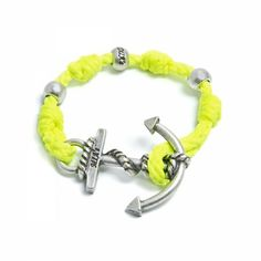 Adjustable Bracelet (up to 22 cm) spheres and anchor to choose between silver or gold. Bracelet Color: Yellow Made in Italy