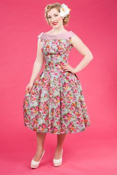 Miss Candyfloss - 1950s Payton Sue Floral Swing Dress