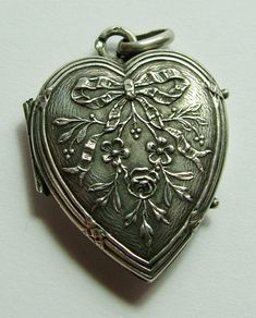 Antique Victorian c1900 French Silver Flower Heart Locket Charm Antique Charm - Sandy's Vintage Charms