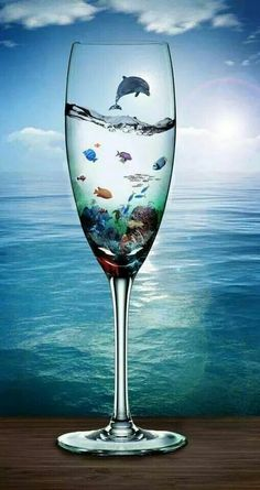 Vladimir Kush,Home Decor HD Print art painting on canvas Vladimir Kush, Wine Glass, Glass Art, Ocean Life, Surreal Art, Photo Manipulation, Belle Photo, Dolphins, Photo Art